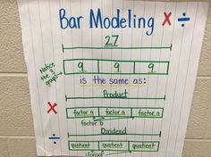 Bar modeling multiplication and division Singapore math, Bar model, Math notebooks Multiplication Anchor Charts, Math Charts, Teaching Multiplication, Math Anchor Charts, Multiplication And Division, Teaching Math, Fractions, Teaching Ideas, Strip Diagram
