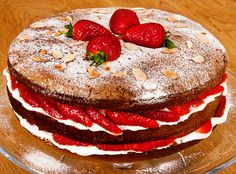 Strawberry Mascarpone Italian Sponge - This light, airy sponge is simplicity itself to make. Known as Pan di Spagna, which literally means Bread of Spain, it is used as the base for countless desserts and celebration cakes in Italy.