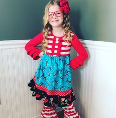 44e107233a31 Dr. Seuss dress Back to School clothing custom girls boutique Pink Momi  boutique Double Ruffle
