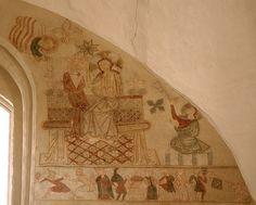 Ørslev, Skælskør, Sjælland, kirke, east transept, mural, detail, via Flickr. #angel
