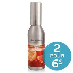 Claire de lune ambiance - Vaporisateur de parfum - Mandarine et canneberge - 4,99 $ - Rafraîchissez toutes les pièces avec ce parfum frais en vaporisant le parfum d'ambiance Mandarine et canneberge.