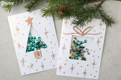 DIY Christmas Card Ideas with Confetti - LOVE these. DIY at Are you looking for some dazzling DIY Christmas card ideas? Sequins were used to make an eye-catching confetti creation in these festive holiday cards! Pop Up Christmas Cards, Christmas Card Crafts, Homemade Christmas Cards, Christmas Printables, Simple Christmas, Handmade Christmas, Diy Holiday Cards, Homemade Cards, Christmas Ideas