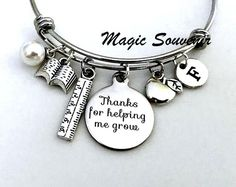 Thanks for helping me grow Bangle Gift for Teacher Apple image 0 Gifts For Baseball Players, Team Gifts, Nanny Gifts, Gifts For Mom, Daycare Provider Gifts, Chemistry Gifts, Adoption Gifts, Silver Apples, Cheerleading Gifts