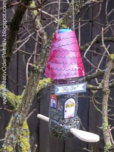 vogelhaus, pet, plastik, flasche, recacling, upcycling, futter bird, bottle, plastic, kochlöffel, kinder, basteln, einfach, idee, anleitung, herbst, winter, kinder, selber machen, diy