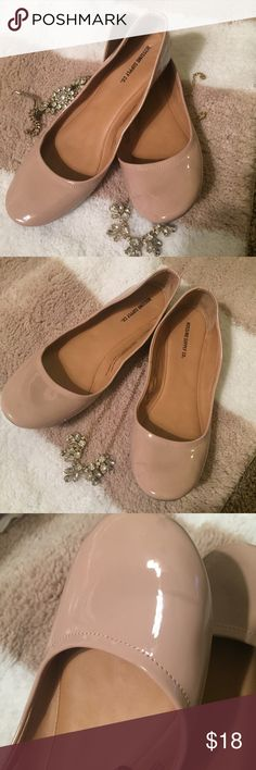 Nude patent flats Size 8.5 nude patent flats by Mossimo! These are in great shape and only worn a few times. Tiny scuff on left shoe as shown in photos. It's barely visible and was hard to even get a photo!! Mossimo Supply Co. Shoes Flats & Loafers