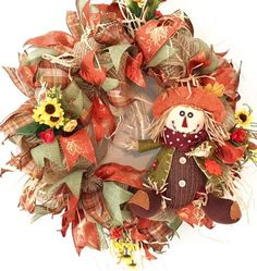 Fall Wreath Scarecrow Wreath Cute Scarecrow Wreath Fall