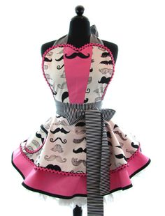 Retro Apron   Pink Mustache Tux Sexy Womans Aprons by bambinoamore, $79.00