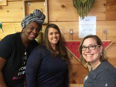 Travel Bloggers Lauren Gay and Karen Dawkins with #GSOBfanguide event coordinator at #Coastaltextilecenter.