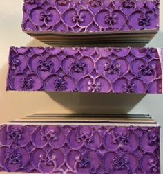 The bottom of the straight pour challenge. This is a silicone impression mat that I brushed plum mica on. It turned out nice. Phoenix Homes, Soap Making, Soaps, Plum, Decorative Boxes, Challenge, At Least, Nice, Pretty