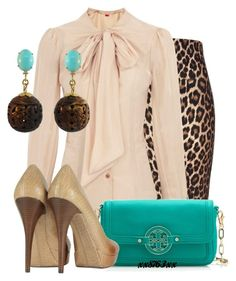 """""""Teal Leopard"""" by xx8763xx ❤ liked on Polyvore featuring River Island, Vivienne Westwood Red Label, Tory Burch, Michael Kors and Silvia Furmanovich"""