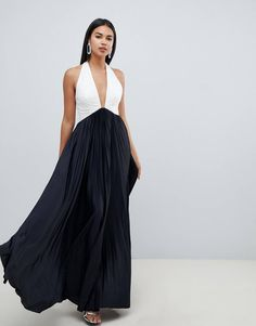 4ba794fee3 DESIGN Vanessa Backless Halter Pleated Maxi Dress in 2019