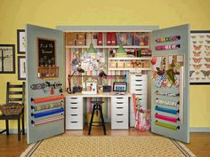 Sewing/craft area that takes up little space, and can be hidden when not in use.