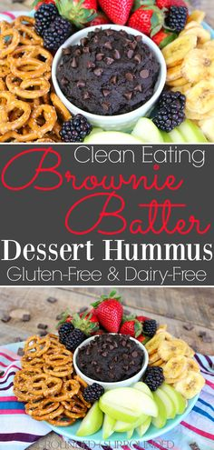 The BEST Brownie Batter Hummus | This clean eating homemade recipe makes the perfect snack or dessert. Healthy, gluten free, and chocolate- what more could you want?! It tastes like frosting or dark chocolate cookie dough! Chickpeas (garbanzo beans), honey, peanut butter (nut butter), and cocoa powder make the most indulgent and easy fruit dip EVER. Dippers to use: berries, apples, Nilla wafers, pretzels, banana chips! #recipes #snacks #sweets
