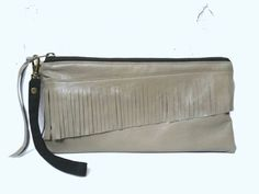 UPCYCLED Leather Fringe Clutch. Tan Bag. Recycled Leather. Spring Clutch. Wrist Strap.