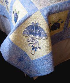 Corner detail of Parasols and Pansies quilt