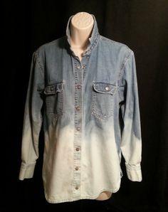 Espirit dip dyed bleached ombre denim shirt by Cranberrymoons, $19.00