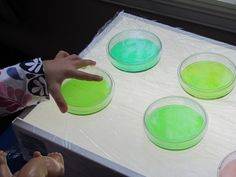 plastic wrap covering light table to have wet fun with color mixing in petri dishes