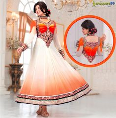 Oh So Pretty & Gorgeous! Shop for lovely #JacquelineFernandez Orange Long #AnarkaliSuits at  Extra Rs.99 & UpTo 20% OFF.  Shop Now:- http://www.shoppers99.com/jacqueline_fernandez_anarkali_suits_collection/jacqueline_fernandez_orange_long_anarkali_su_t-434-1318