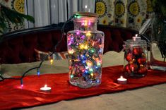 holiday DIY...glass jar centerpiece
