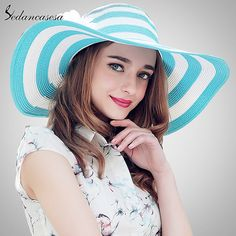 ee5076e7 Sedancasesa 2018 Fashion Newest Big Wide Brim Summer Beach Hats for Women  Floppy Stripe Design Sunscreen Girls Sun Hat SW012289 [orc32860984315] -  $35.27 : ...