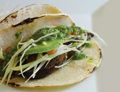 grilled portobello tacos with salsa verde