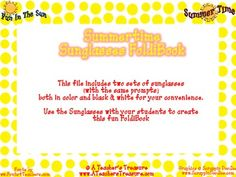 Summertime Sunglasses FoldiBook Fun!  End of the year activity.