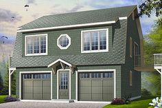 House Plan 23-756 Detached garage with living quarters above