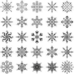 Buy Snowflakes Outline Set by OK-SANA on GraphicRiver. Christmas decoration: set snowflakes, black contour on white background. Vector EPS 8 plus AI CS 5 plus high-quality . Snowflake Outline, Snowflake Shape, Snowflake Pattern, Snowflakes, Clipart, Zentangle, Snow Flake Tattoo, Christmas Drawing, Christmas Decorations