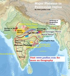 Peninsular Plateau - Plateaus in India Geography Map, Physical Geography, Teaching Geography, India World Map, India Map, Indian River Map, Ias Study Material, General Knowledge Facts, Gk Knowledge