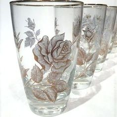 rose bouquet highball glasses vintage patter libbey glassware patterns rock sharpe stemware glass