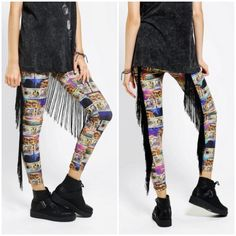 "Bitching & Junkfood Denaro Fringe Leggings✨HP✨ Eye-popping stretchy, fitted legging covered in currency and lion chain print with black fringe trim down back legs. Elastic, pull-on high waist. Tapered leg. 90% nylon; 10% spandex. Dry clean/Hand wash. Size Small (UK 8 US 4 or 27, 28 in pants).  Inseam: 27"".  Rise: 12"".  New with tags. Thanks for looking! Urban Outfitters Pants Leggings"