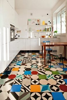 Multi coloured tile floor by Katarzyna Baumiller and Agnieszka Kossowska using Purpura handmade tiles