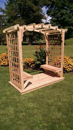 Add a romantic touch to your outdoor space with the A & L Furniture Cambridge 7 ft. High Cedar Arbor with Deck . This handcrafted Amish pergola is. Arbor Swing, Porch Swing, Arbor Bench, Diy Pergola, Pergola Plans, Pergola Ideas, Wood Pergola, Arbor Ideas, Cheap Pergola