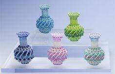 plaited herringbone stitch beaded pots