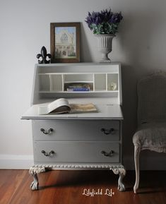 Lilyfield Life: French vintage secretary in gray and white - Upcycled Furniture Ideas Furniture Update, White Furniture, Upcycled Furniture, Furniture Makeover, Painted Furniture, Urban Furniture, White Secretary Desk, Painted Secretary Desks, Diy Furniture Refresher