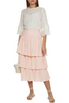 Blush Tiered cotton-jacquard midi skirt | Sale up to 70% off | THE OUTNET | SEE BY CHLOÉ | THE OUTNET Coat Dress, Jacket Dress, Skirt Pants, Midi Skirt, Dress Outfits, Fashion Dresses, Chloe Clothing, Beach Wear Dresses, Skirts For Sale