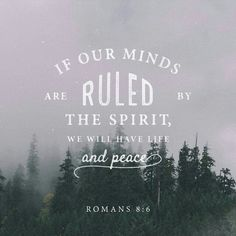 Let's have our minds ruled by the Spirit not by our sinful nature.