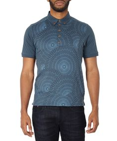 981433dd320 Navy+patterned+pure+cotton+polo+shirt++by+Ben+Sherman+on+secretsales.com