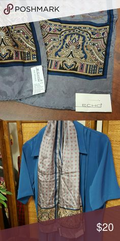Echo Silk Scarf New scarf. Gray with Red and Blue Design Echo Accessories Scarves & Wraps