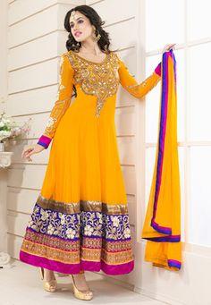 Light #Orange  Faux #Georgette #Churidar Kameez