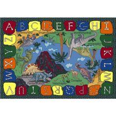 """We Dig Dinosaurs Classroom Rug - Rectangle - 5'4""""W x 7'8""""L by Joy Carpets. $179.75. The We Dig Dinosaurs Classroom Rug will teach children the names of various dinosaurs, and the fun alphabet bones border will assist with letter recognition. This school rug from Joy Carpets features STAINMASTER(r) carpet fiber with anti-soil and antimicrobial treatments, so it will stay protected against spills and germs. And the durable SoftFlex™ backing system will stand up to years o..."""