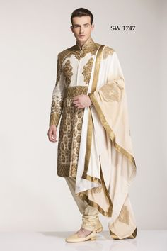 Diwan Saheb Off White Silk Embroidered Indo Western Sherwani