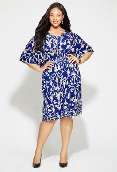 Avenue Plus Size Royal Blue Kimono Sleeve Dress, Royal Blue 18/20 coupon| gamesinfomation.com