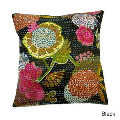 Add bold color to your living room decor with these dazzling Indian pillow covers. The elegant cover is completely hand-stitched, for added beauty, and it can accommodate a standard 16-inch square pillow. It features a zip closure for easy installation.