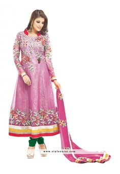 Mindblowing Pink Color Georgette Fabric Anarkali Salwar Suit