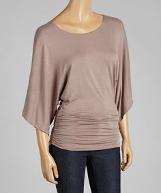 Look at this #zulilyfind! Beige Ruched Cape-Sleeve Top #zulilyfinds