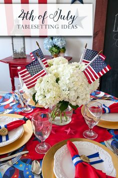 4th of July centerpiece ideas and patriotic party table inspiration