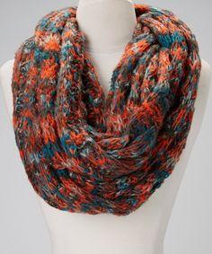 Orange + Brown + Blue Texture Infinity Scarf