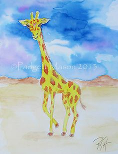 Padgett Mason Original Watercolor Giraffe Nibblefest Nfac   eBay