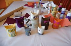 Toilet paper tubes--fold down sides and paint animals like owls, cats, bats, etc